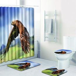 combinación de ducha Rebajas 4 unidades / set Cortina de baño Estera de baño Combinación de dibujos animados Eagle Patrón Baño Aseo Alfombra Ducha Habitación Mat