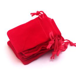 Мини шнурок бархатный мешок 5x7cm 100 шт. / лот Красный небольшие ювелирные изделия кольца ожерелья упаковка сумки настроить логотип стоимость дополнительные оптовые от