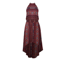 bella dresses Coupons - Bella Philosophy 2018 Summer Vintage Ethnic Print Dress Women Sexy Halter Hollow Out Sleeveless Irregular Long Mid-Calf Dress