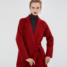 Ágata de água on-line-2019 ágata água vermelha moire mulheres dupla face caxemira casacos senhoras com cinto de cintura casacos de lã DHL livre