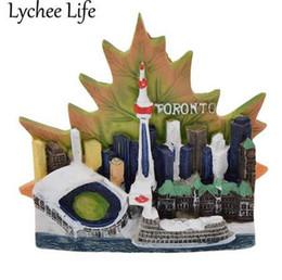 paesaggio di acero Sconti Lychee Life Canada Scenic Frigorifero Magnetic Sticker Toronto Paesaggio Maple Leaf Fridge Magnet Modern Home Kitchen Decor