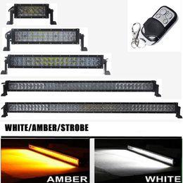 2019 luzes led automotivas atacado Carro 4D Amarelo Branco Led Light Bar 36 w 72 w 120 w 180 w 240 w 288 w 300 w Controle Remoto Barra de Led Trabalho Condução Lâmpada 4X4 caminhão