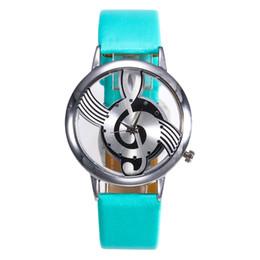 Женские кожаные наручные часы онлайн-Women Fashion Leather Stainless Steel Musical symbol watch Ladies Watches Women 2019 Selling Fashion Watches #4a19