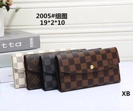 Multi tarjeta de billetera mujeres online-Hombres de moda a cuadros de letras billetera larga de múltiples capacidades de dos piezas mujeres retro personalidad portátil billetera de mano posición de varias tarjetas Moneda