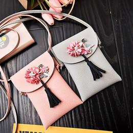 lindos celulares pequeños Rebajas Coneed Moda Mujer Estilo de muy buen gusto Bolsa de teléfono celular Floral Pequeña linda bandolera Crossbody 2019 May23 P35