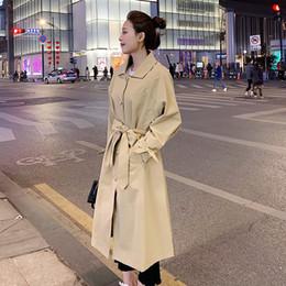 шикарные женские пальто Скидка Темперамент Свободный Шикарный Корейский Плащ Для Женщин Повседневная Сплошной Цвет Отложным Воротником Пояс Талии Элегантные Партийные Пальто Eelgant