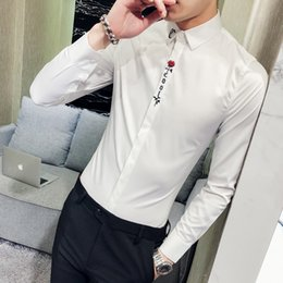 slim fit long prom dress Coupons - High Quality Men Shirt Brand New Slim Fit Embroidery Tuxedo Men Dress Shirts Long Sleeve Casual Gentlemen Prom Shirts Male 3XL-M