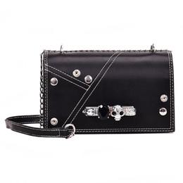 cc0742fc2e4d3 Fashion Punk Diamond Skull Ring Womens Shoulder Bag Tote Crossbody Mini Messenger  Bag Female Bolsa Designer Bags Handbag Flap