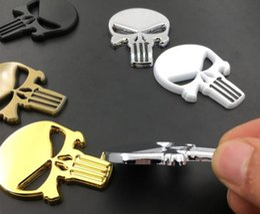 Rhino 3d online-Nuovo Rhino Tuning THE Punisher Body Badge 3D Skull Sticker Metallo Auto Emblem per tutto il corpo QX80 FX35 G25 Q70 Qx60 Auto-styling