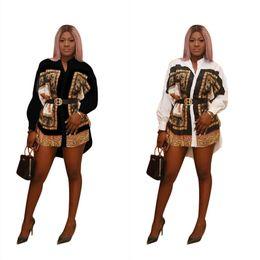 2019 vestido de corpo branco preto e preto Designer de camisa das mulheres vestido de luxo impresso vestidos de festa nacional casual roupas moda stand colarinho padrão de leopardo tops para 2019 novo