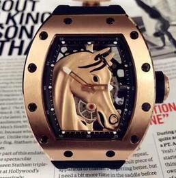 конные люди Скидка Топ Марка розовое золото корпус из нержавеющей 052 скелет 3D голова лошади циферблат автоматическая мужская мода наручные часы черный резиновый ремешок мужчины роскошные часы