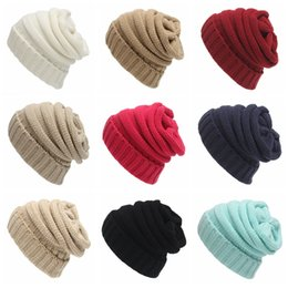 women warm crochet hat Promo Codes - Fashion Woman Beanie Hat Solid Color Winter Warm Knitted Hat Outdoor Lady Skullies Crochet Ski Cap TTA1687