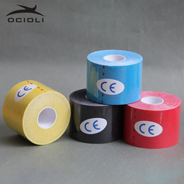 sports support bandages Coupons - 4 Roll 5cm X 5m Sports Kinesiology Tape Roll Cotton Elastic Adhesive Muscle Bandage Strain Support Football