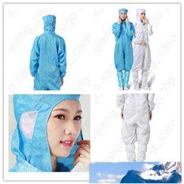 ropa de soldadura Rebajas D31602 Traje de protección de mujeres de los hombres de una pieza de ropa protectora con capucha libre de polvo taller paño limpio reutilizable antiestático ropa S-3XL