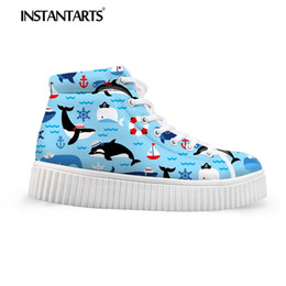 36a3b870d5f9 INSTANTARTS Platform Short Boots Women Flat Shoes 3D Cute Cartoon Sea  Animal Dolphin Print High Top Ladies Shoes Zapatilla Mujer