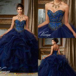 vestido azul escuro vestido de baile vestidos Desconto Marinho escuro frisado Prom vestidos sem mangas querida luxo Quinceanera vestido Doce 16 masquerad vestido de baile espartilho vestido de baile Evening vestido