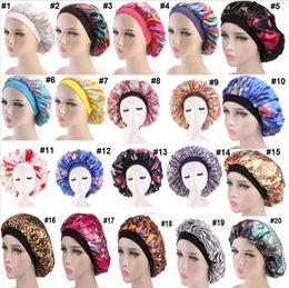Mujeres Satén Noche Salón de belleza Cubierta de tapa para dormir Capa de pelo Sombrero de seda Cabeza ancha y elástica Banda para rizado cabello elástico Chemo Cap desde fabricantes