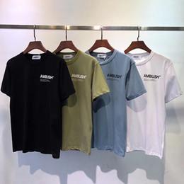 camicie marrone casual Sconti 2019 New AMBUSH T-Shirts Uomo Donna Casual Marrone Blu AMBUSH Top Tees Estate Moda Hip Hop In Cotone Coppia Amanti T-Shirt