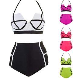 016ea896ab661 Femme Bikini 2019 Femmes Coloré Taille Haute Vintage Plage Rembourré  Soutien-Gorge Costume Surf Maillots De Bain Cover up Dropping biquini  baigneurs