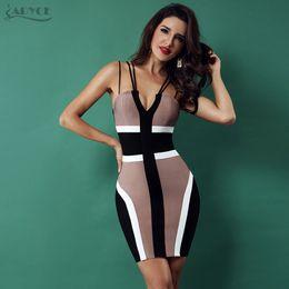 Canada ADYCE Bandage Dress 2018 Femmes Celebrity Party Club Dress Spaghetti Strap Col En V Dos Nu Sans Manches Sexy Moulante Dress Vestidos Offre