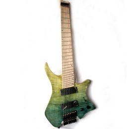 hohlkörpergitarre l5 Rabatt Musoo Brand 8 Saiten fächerten die kopflose E-Gitarre im Bund in Hellblau auf