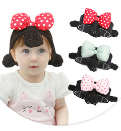 Trecce accessori per capelli per le ragazze online-Baby Wig Bow Headband 3 Colors INS Newborn Cartoon Hair Band Toddler Girls Wig Braids Hair Accessories OOA6539