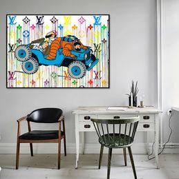 Quarto pop art on-line-mão de alta qualidade TINTIN arte pintada pop com o cão na lona para quarto de criança ou quarto de cama