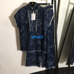 Pipa blusa online-muchachas de las mujeres de gama alta denim camiseta de manga corta floral mosaico con motivos de tuberías con cuello en V jersey tapas de la blusa de diseño de lujo informal camiseta de la moda