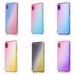 caso suave do iphone do gradiente Desconto Anti Choque Airbag macia Limpar Casos gradiente cores para IPhone XR XS MAX 8 7plus 6S para Samsung S10 S9 Nota 9