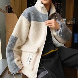2020 chaqueta de invierno de cuello alto de los hombres zamarra nueva manera de moda coreana de la chaqueta capa de los hombres de invierno suelta la piel del cordero de los hombres de alta calidad de la ropa gruesa para hombre rebajas chaqueta de invierno de cuello alto de los hombres