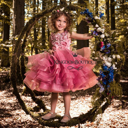 vestidos de baile corto cupcake Rebajas Vestidos hermosos para niñas en fucsia Vestidos de fiesta de princesa A Line Cupcake Ruffles Short Kids Prom Party Vestido de niña de flores para bodas