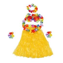 2019 traje hawaiano de hula 6 Set Falda de hierba hawaiana flor Hula Lei Wristband Garland disfraz - amarillo rebajas traje hawaiano de hula
