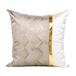2019 biancheria in pelle Cuscino per divano moderno di lusso leggero in pelle PU oro texture Mosaico testata copridivano copridivano biancheria in pelle economici