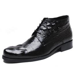 grandi scarpe da uomo Sconti Large Size 39-48 coccodrillo Stivali cuoio del modello Cowboy Boots Mens Scarpe a punta High Top Lace-Up Dress bussiness scarpe Bota Masculina