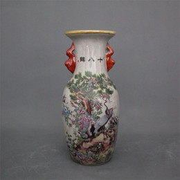Jingdezhen ceramica antica qianlong pastello vaso 18 gru decorazione della casa mobile antico display pezzi vaso in ceramica decorazione Festival da vasi da fiori in miniatura all'ingrosso fornitori