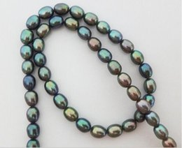 """Auténticas perlas negras de tahiti online-Joyería Collar de perlas 18 """"9X7mm Natural Tahitian genuino negro Collar de perlas de pavo real perfecto Envío Gratis"""