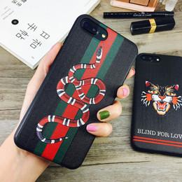 Mode 3D Brodé Tête De Chat Couverture Arrière Souple Animal Serpent Stripe Téléphone Shell Marée Marque pour iPhone XS Max XR X 6s 7 8 plus ? partir de fabricateur
