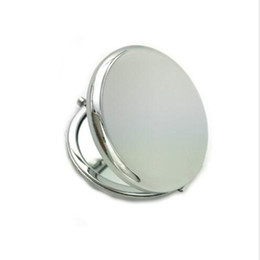 blank mirrors Promo Codes - Wholesale 100Pcs 70MM High Quality Blank Compact Mirror Silver & Golden Makeup Mirror -DHL Free Shipping