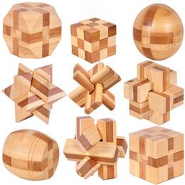2019 rompecabezas de cerraduras de madera Kong Ming Luban Cerraduras Antigua China Cerraduras ancestrales Cerebro de madera tradicional Puzzle Juguetes educativos Cubo mágico rebajas rompecabezas de cerraduras de madera