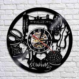 Máquinas de coser para acolchar online-1 Pieza Quilting Wall Art Decor I Love Coser Vinilo Reloj de Pared Máquina de Coser Cocina Relojes 3D Relojes Decoración Maison