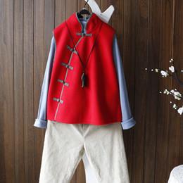 Chinese Style Short Weste Frauen Slanted Platte Knopf Schwarz Weiß Retro Stehkragen Wollweste Warm Fleece Hohe Qualität