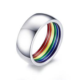 Acier Inoxydable Arc-en-émail Bague LGBT GAY PRIDE Bague Mariage Band Taille 7-12