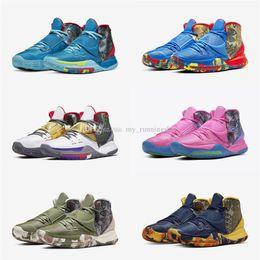 2020 scarpe da ginnastica riscaldate Nuovo progettista Sneaker Kyrie 6 Pre-Heat NYC La Shanghai Pechino Guangzhou Miami Houston Heal the World 6s Scarpe sportive Basketbal Size7-12 scarpe da ginnastica riscaldate economici