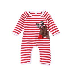 un marchio di abbigliamento Sconti Caldo Natale Vestiti Del Bambino Infantile Ragazzi Ragazze A Maniche Lunghe A Righe Deer Stampato Tuta Pagliaccetto Vestiti Del Pagliaccetto Del Bambino Abiti di un pezzo