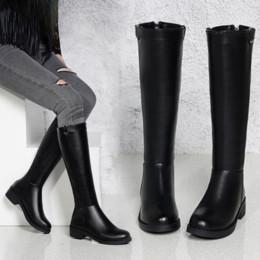 2019 scarponi aperti a ginocchio Stivali invernali da donna LZJ Stivali alti al ginocchio Plus Size Scarpe da donna di alta qualità in pelle scamosciata sintetica di alta qualità Stivali invernali da donna in lana 35-40 scarponi aperti a ginocchio economici