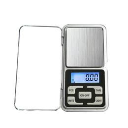 Grammo mini tasca online-Mini bilancia elettronica digitale bilancia pesapersone bilancia tascabile LCD display scala con scatola al minuto 500 g / 0,1 g 200 g / 0,01 g