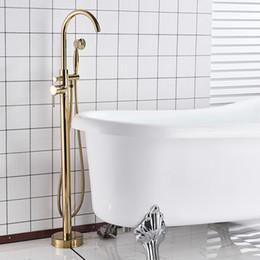 riempitivi per vasche da pavimento Sconti Rubinetto d'ottone dorato della vasca da bagno del rubinetto del pavimento riempitore della vasca da bagno singolo bocchino girevole della vasca da bagno Miscelatore della vasca da bagno Rubinetto indipendente di Clawfoot