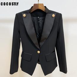 2019 colarinho preto senhoras blazers Suit Designer de luxo para as Mulheres Blazer Jacket Brasão único botão Satin Collar Office Lady Blazers Preto Feminino Outwear SH190929 desconto colarinho preto senhoras blazers