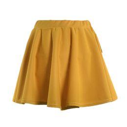 Alta cintura flare saias on-line-Verão Mulheres Mini Saia Elástica Básica Elástico de Cintura Alta Senhora Menina Casual Saias Queimadas TY66