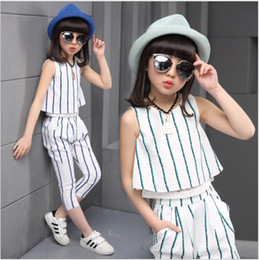 8b11266b3dc 2019 4-16 years big girls summer clothes teenage girls clothing set striped  shirt +pants 2 pieces fashion children kids clothes